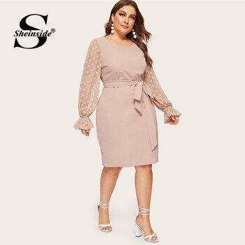 eb78d044511 Sheinside плюс размеры в горошек с сетчатыми рукавами миди платье для женщин  2019 весенние элегантные рукав-Волан платья для дамы высокая талия