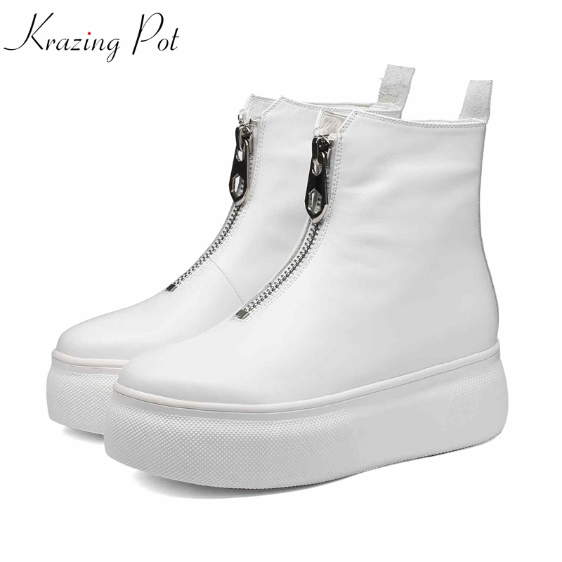 Krazing Pot 2018 genuine leather 6cm wedges high heels round toe zipper fasteners increased thick bottom Chelsea ankle boots L89 krazing pot genuine leather 2018 round toe high heels metal fasteners motorcycle boots mature women round buckle ankle boots l26