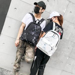 Image 2 - Women Backpack Fashion Marble Stone Print School Bag Teenager Canvas Rucksack Girls School Student Casual Travel Shoulder Bag