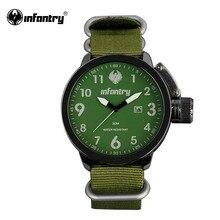 INFANTERÍA Reloj Verde Del Ejército Deportes Para Hombre Relojes de Cuarzo Relogio Militar G10 Nylon Correa Auto Fecha Relojes Deportivos 2016