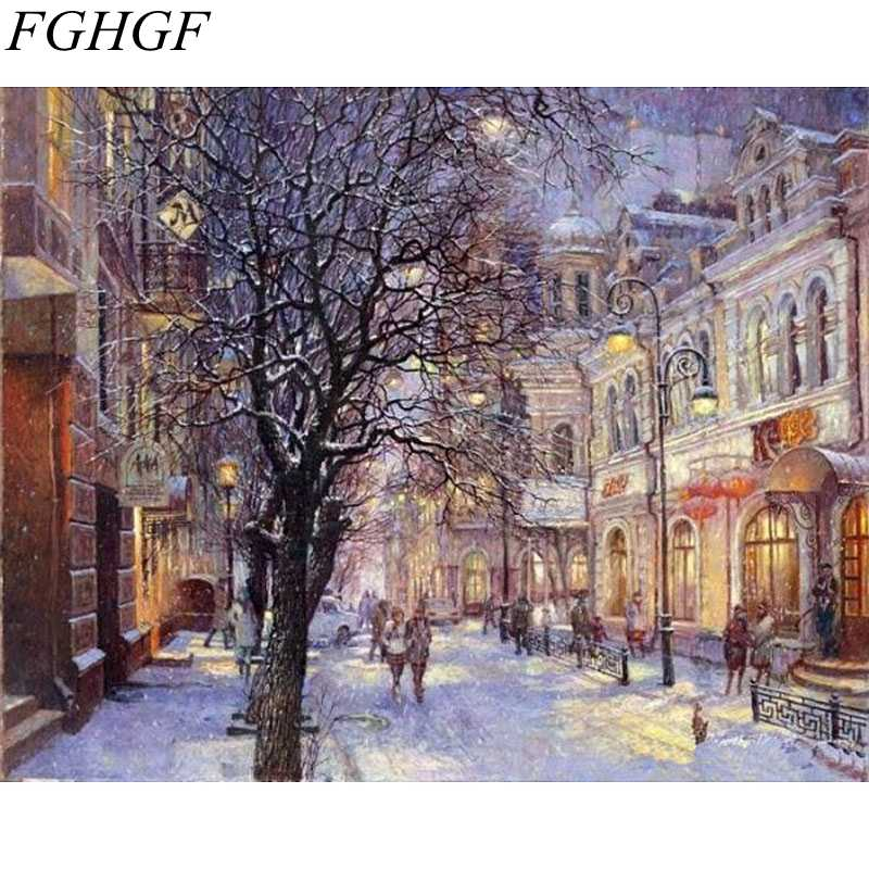 FGHGF Frameless Snow House Acrylic Picture DIY Painting By Numbers Hand Painted Oil Painting On Canvas For