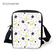 ELVISWORDS Fashion Women Messenger Bags Cartoon Cats Pattern Shoulder Kawaii Design Girls Flaps Handbags Mini Kids Mochila