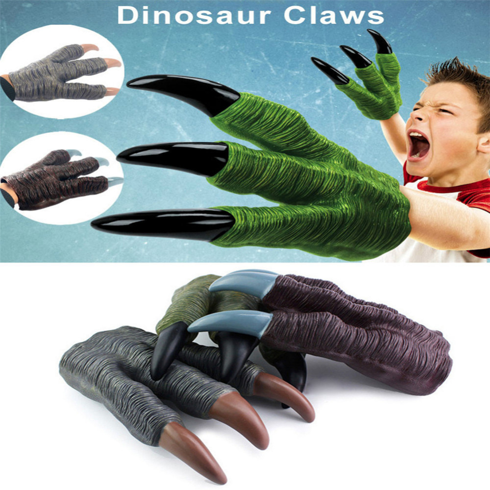 Dinosaur Claw Gloves Hands Cosplay Xmas Halloween Party Kid Trick Prop Toy Werewolf Hands for children and kids gift one night ultimate werewolf english cards board game for party family fun