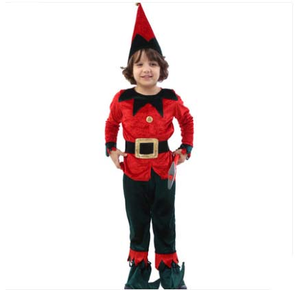 Children`s New Year`s Christmas Costume Boys Gnome Costume Kids Dwarfs Costume Halloween Costume Party Dress Large Size