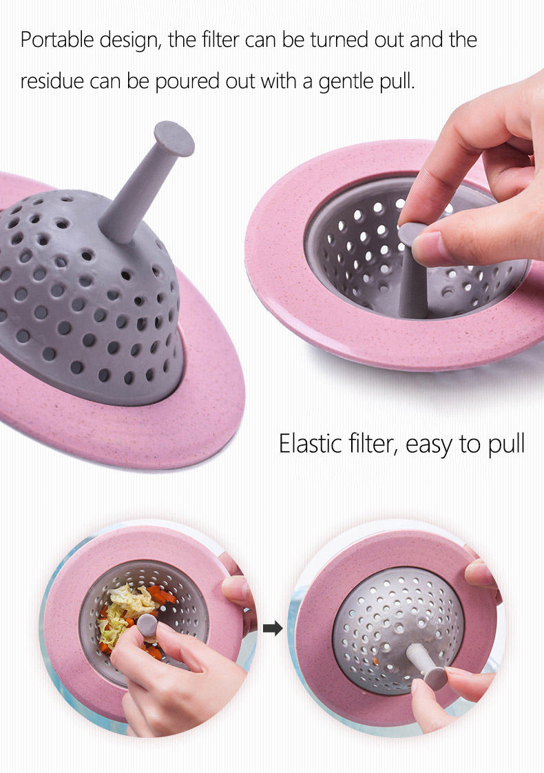 5 Pcs Wheat Straw Kitchen Sink Strainer Shower Drain Filter