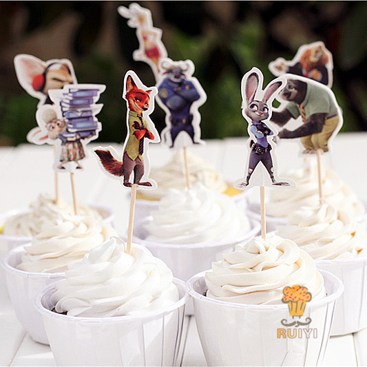 72pcs Zootopia Judy Hopps Nick Wilde candy bar cupcake toppers pick baby shower kids birthday party supplies