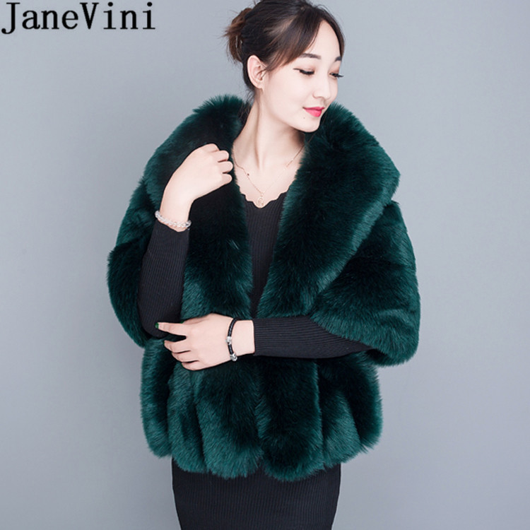 JaneVini Winter Faux Fur Bolero For Women Plus Size Dark Green Wedding Bridal Fur Shawl Cape