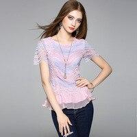 Amerykański Styl 2017 Kobiety Summer Fashion-Line Koronki Organzy Patchwork różowy Krótki Rękaw T Shirt Tops Ladies Slim Słodkie Koszula Tee