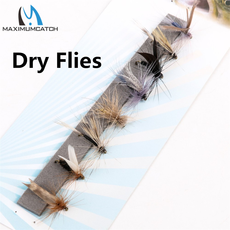 Maximumcatch Fly Fishing Dry Flies #0-14 Assortment 8 Patterns Deluxe Kit High Quality Fishing Flies classic 24 pcs dry flies fly fishing set for trout salmon pheasant tail dry fly lures kit caddis insects patterns bait
