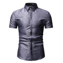 New model Shirts for Men Summer Blouse Slim fit Mens dress Short sleeve Solid color Blue Black 2019 Hot