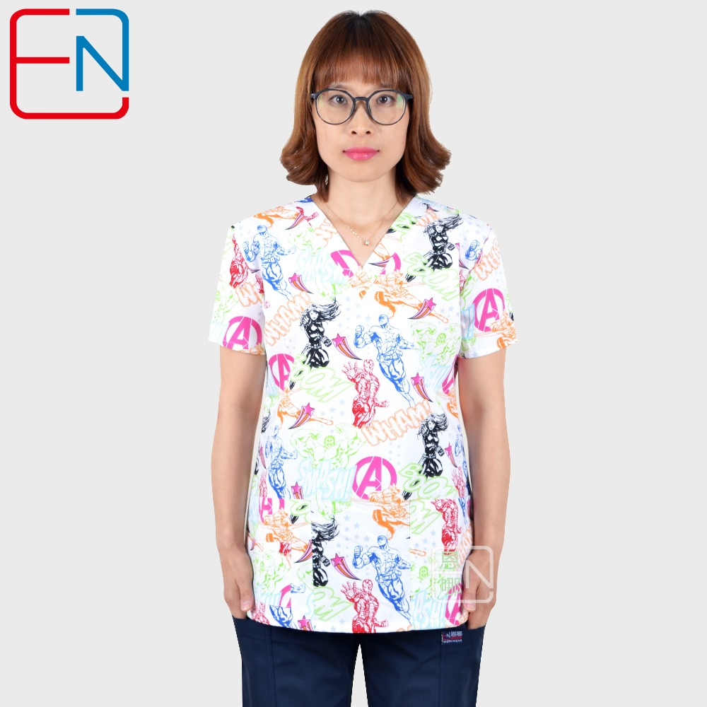 TC Lovely Print Medical Uniforms Women Breathable V-Neck Nurse Nursing Uniform Hospital Clinical Dental Doctor Scrub Top
