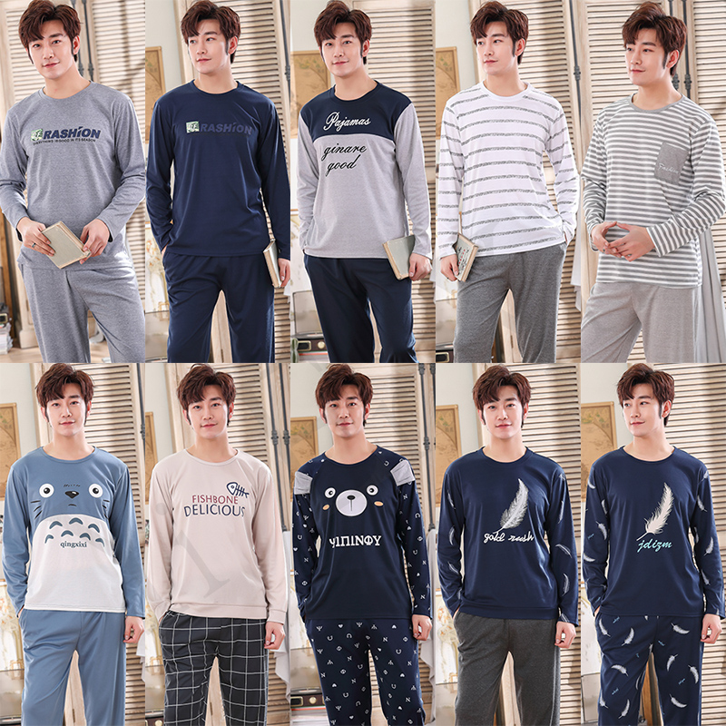 Casual Striped Cotton Long Sleeve Pajama Sets For Men 2019 Autumn Sleepwear Male Lounge Wear O-neck Pyjama Homewear Home Clothes