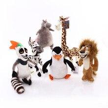 6 estilos Madagascar juguetes de peluche Madagascar figura de dibujos animados León jirafa pingüino Zebra Hippo muñecas lindo regalo juguetes para niños