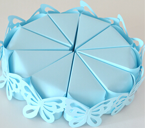 50pcs European wedding Creative Sweet light blue butterfly Cake