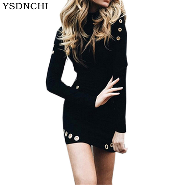 2ac8a9057c YSDNCHI Casual Fall 2018 Women Long Sleeve Bodycon Party Dresses Autumn  Winter Slimming Elegant Temperament Quality