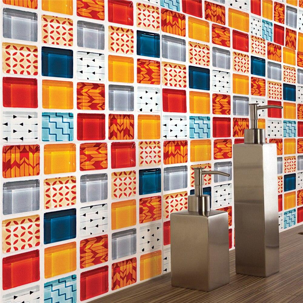 New Wallpapers Geometric Patterns Stick Wall Tile Self Adhesive Backsplash DIY Kitchen Bathroom Home Wall Decal Sticker