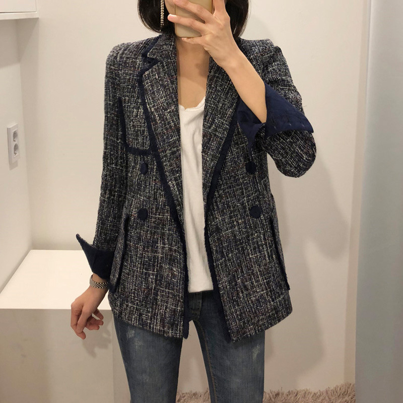 Double Breasted Suit Jacket Female women blazers and jackets Casual Chic British Tassel Patchwork Tweed Blazers Coats
