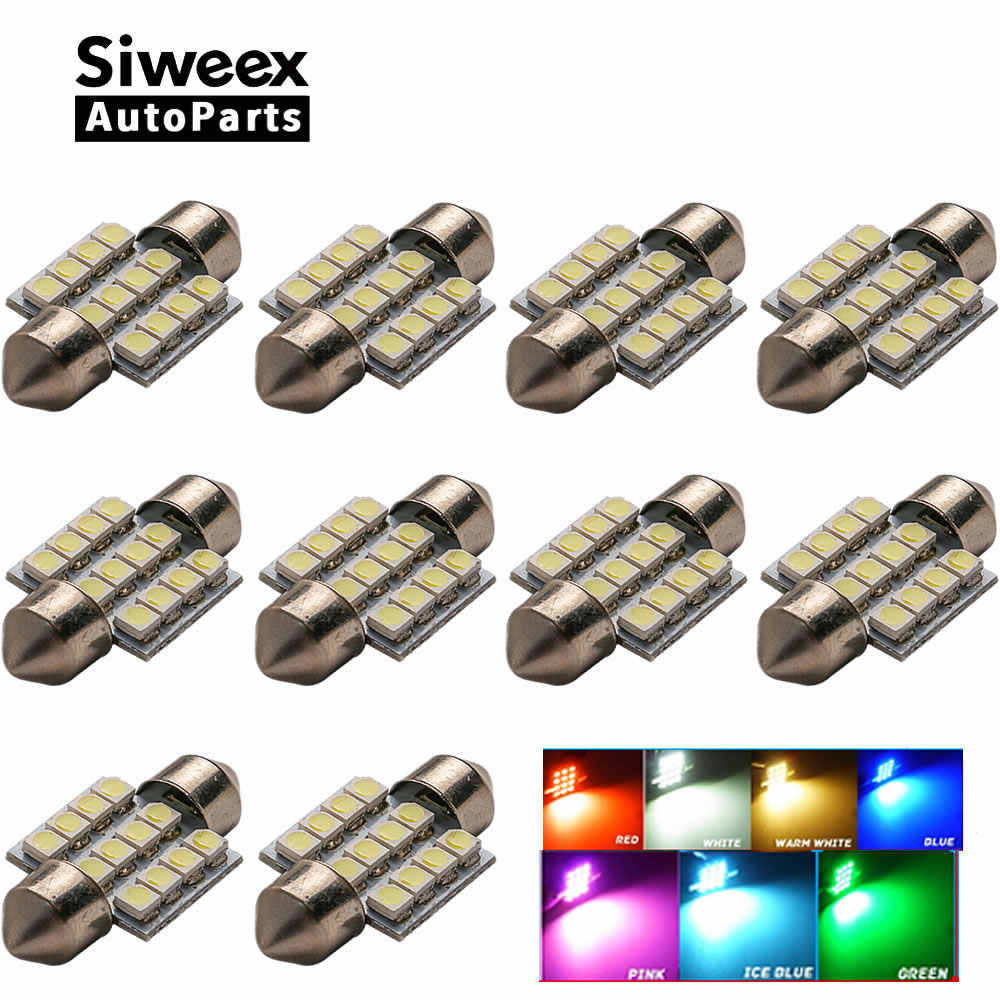 10 Pcs/lot 31MM 12-3528 SMD Light Dome Lamp Interior Festoon License Plate LED Bulb DC 12V Red/White/Blue/Iceblue/Green/Pink