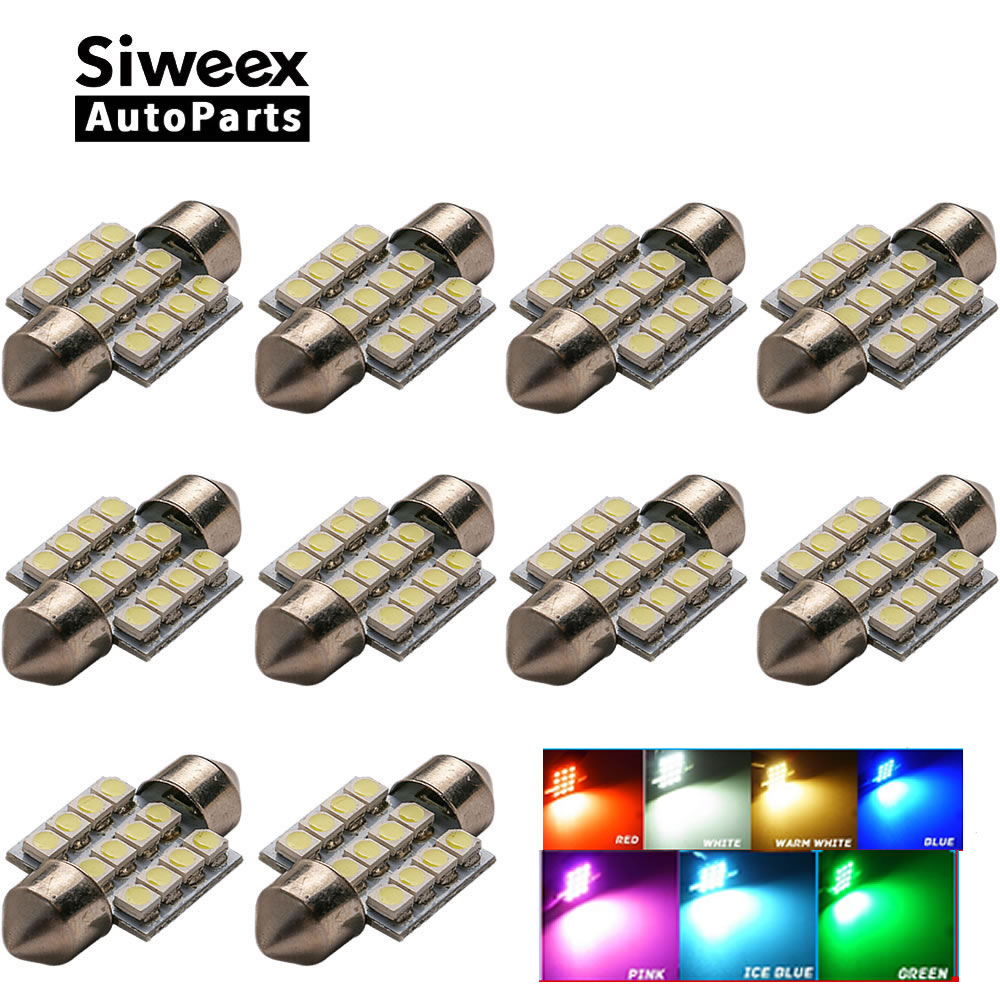 10 Pcs/lot 31MM 12-3528 SMD Light Dome Lamp Interior Festoon License Plate LED Bulb DC 12V Red/White/Blue/Iceblue/Green/Pink 11571210 68w 1157 4 5w 250lm 68 smd 3528 led white light car light dc 12v 2 pcs