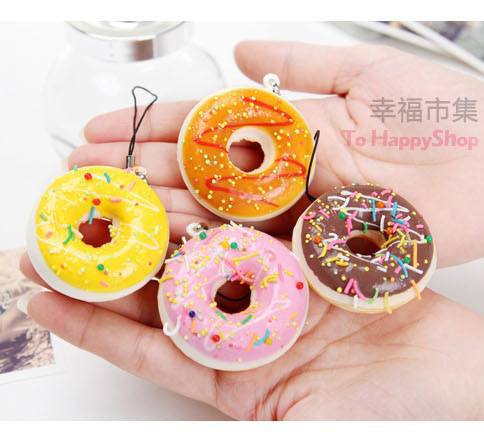 imágenes para Squishies 50 unids kawaii rosquilla blandita bollos para colgantes del bolso de la correa Del Teléfono móvil squishies kawaii envío libre de la porción