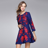 2017 Europe Style Newest Spring&Autumn Best Quality Fashion Red Flower Embroidery Elegant Cute Long sleeve Blue Dress Women