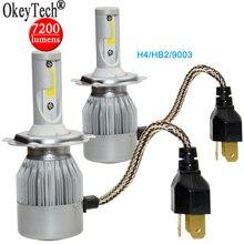 Auto Headlight Lamp Fog Light 7200LM 80W H4 9003 HB2 Hi-Lo COB LED Car Headlight Bulbs Kit Car Beam Bulbs 12V-24V Upgrade 6000k