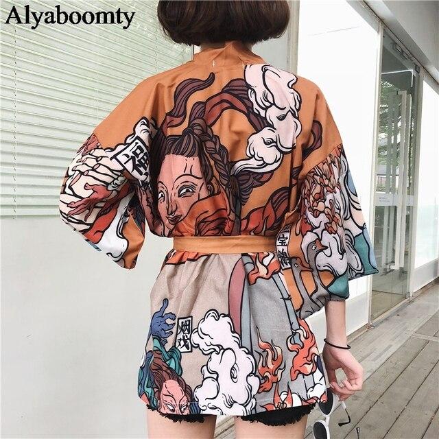 יפני Harajuku נשים Streetwear נקבה זכר קימונו Ulzzang ענקיות חולצות גותי תחבושת קרדיגן חולצה קוספליי חמוד יאקאטה