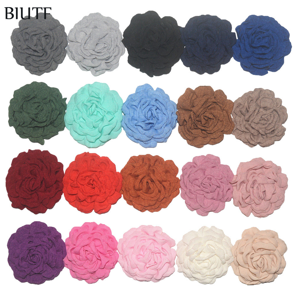 50pcs lot DIY Making 3 5 inch Korea Hemp Burned Flower Fashion Fabric Flower Clip Hair