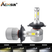 S2 6500K Bright COB LED 4300K H4 Led 8000k 3000K H7 Led Car Headlight Bulbs H11 H1 9005 9006 9007 Beam 12V Fog Light Automobile(China)