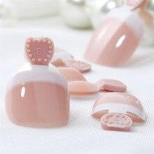 24 pçs pé falso unha do pé dicas conjunto francês capa completa falso dedo do pé dicas unhas adesivos dicas remendos diy manicure decoração