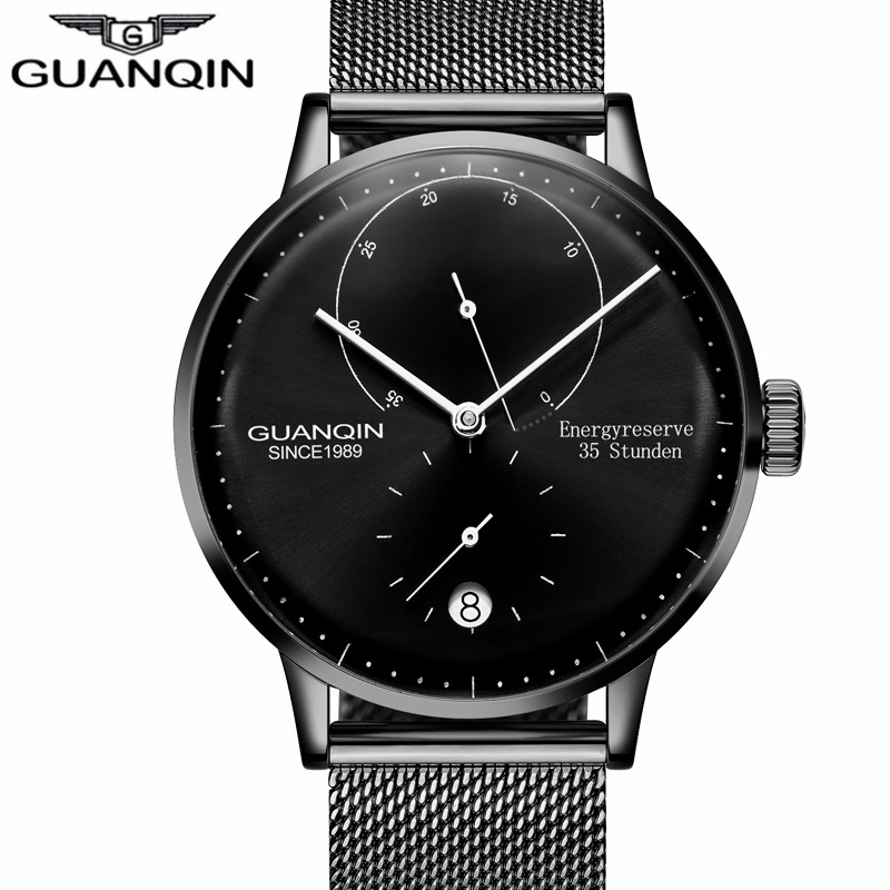 GUANQIN Top Brand Luxury Men Business Automatic Date Mesh Strap Watch Man Fashion Full Steel Mechanical Watch Relogio Masculino top brand men automatic self wind watch guanqin date watch men s fashion casual leather mechanical wristwatch relogio masculino