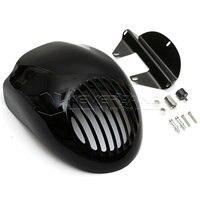 Gloss Black Front Cowl Fork Mount Headlight Fairing Visor Grill Mask For Harley Sportster Dyna XL
