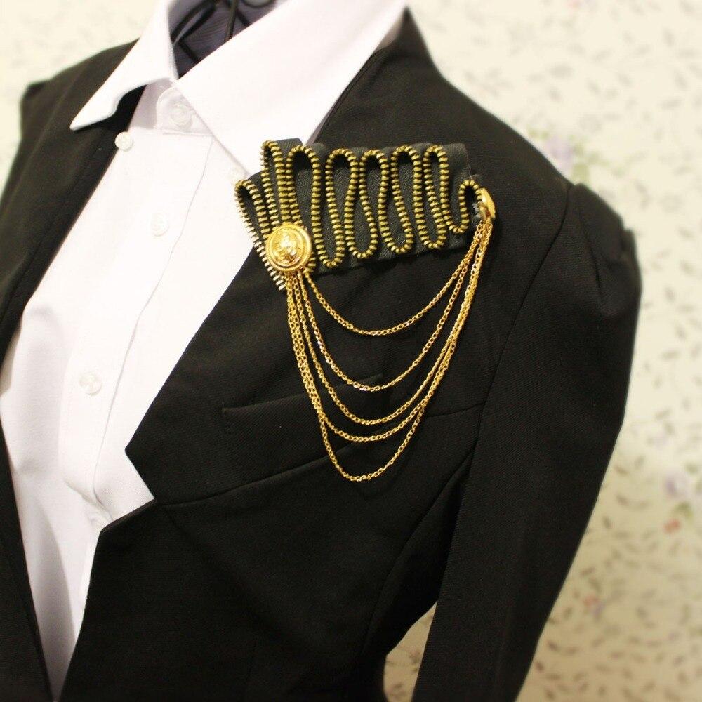 New Free Shipping fashion casual Men's Headwear male Brooch Top grade zipper corsage Suit badge accessories collar pin Tassel