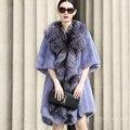 2016 nuevo Haining importado whole piel de visón de piel de visón mujeres de la capa de costura de largo abrigo de piel de zorro