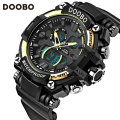 DOOBO Brand Men Sports Watches Dual Display Analog Digital LED Electronic Quartz Watches Waterproof Swimming Watch Montre Homme
