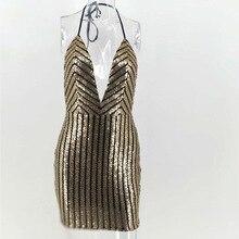 Kasimur 2018  Summer New Style Women gold sequin dress Sexy halter neck Skinny Metallic Party Dresses Feminino Mini Vestido