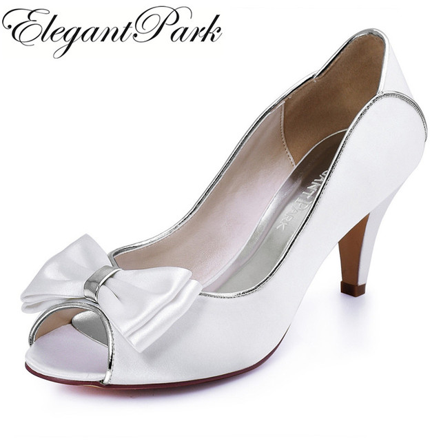 HP1606 Shoes Woman Ivory Mid Heel Peep Toe Bows cut-out Satin Pumps Women s  Wedding Bridal Shoes Lady Evening Party Pumps 9c404163672b