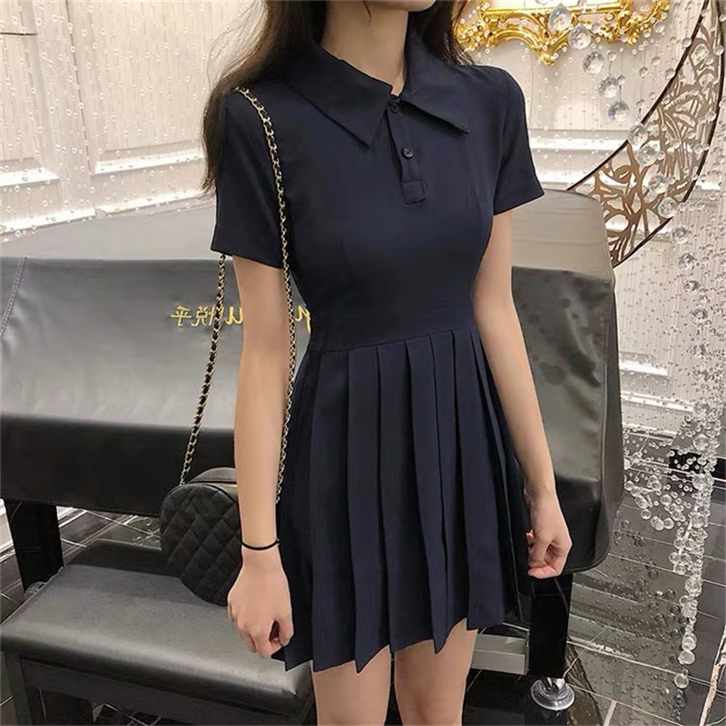Girls Tennis Dress Sweet Girl Temperament Slim Dress Female 2019 Dress New Short-sleeved Waist A Short Tennis Outdoor Sports Ess