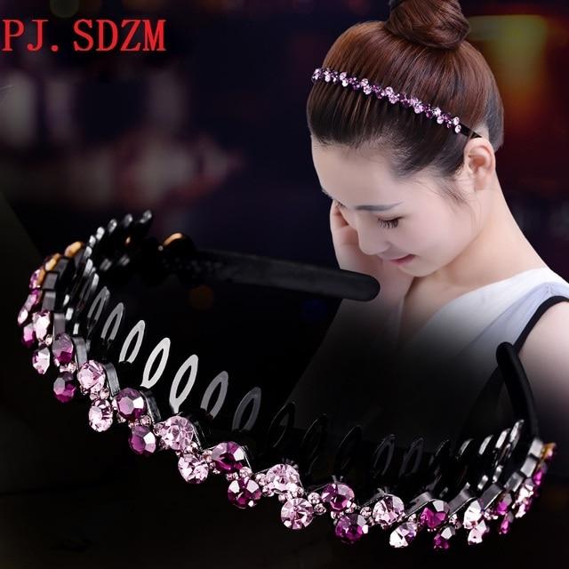 c40d952d204 Handmade CZ Crystal Women Hairband Luxury Sparkling Rhinestone Female Sweet  Cute Hair Accessories with Teeth Headband HoopHB0045