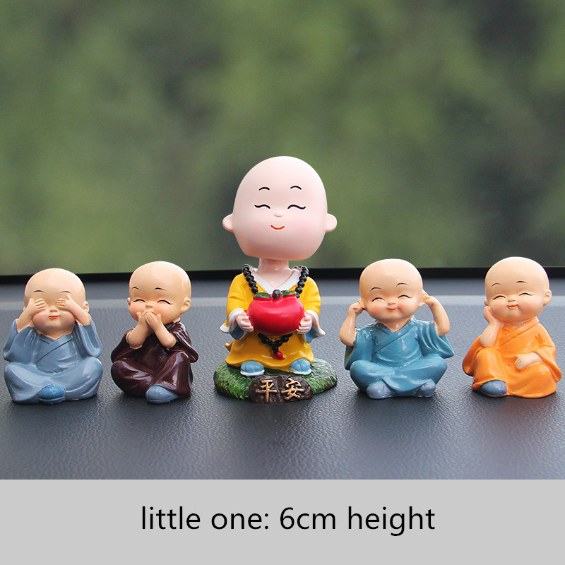 Mini Toys Car Ornaments Monk Dolls Cute Cartoon Funny Lovely Car Dashboard Decor Auto Styling Accessories Means Safe Driving