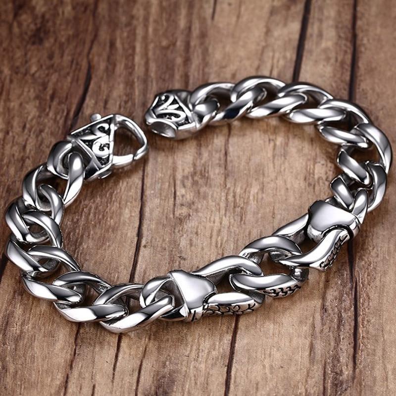 Vnox Mens Bracelet Wrist Chunky Curb Chain Bracelets Pulseiras masculinas 316L Stainless Steel Jewelry Gift