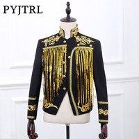 PYJTRL Bar Male Singer Jacket Dj Stage Evening Show Gold Silver Sequins Embroidery Blazer Male Paillette Tassels Loose Coat