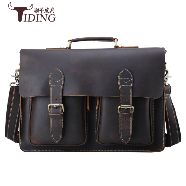 men cowe leather handbags 2017 new fashion brand vintage casual business genuine leather shoulder bags laptop bags brown