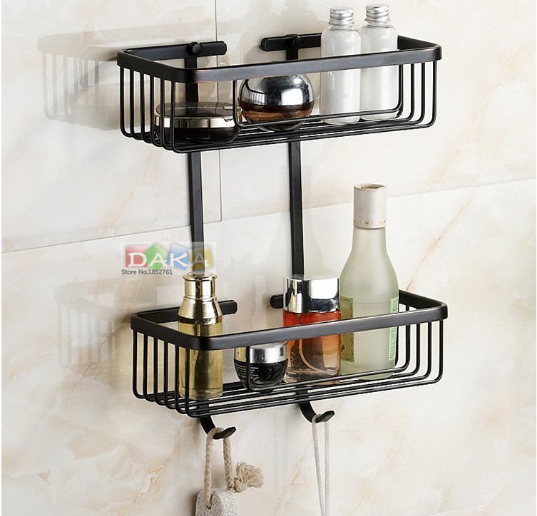 2016  Bathroom Accessories, Dual Tier Brass Material Black Finish Shower Shelf Corner&Shower Basket/ Fashion Strong Shelf