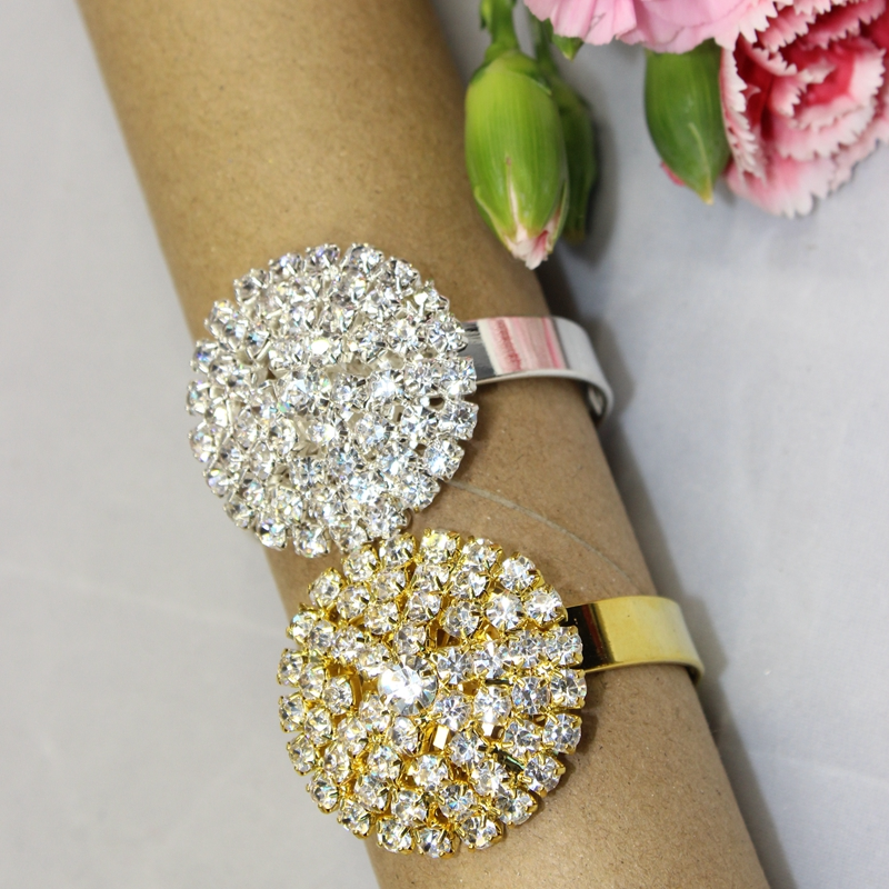 2018 Real Rushed Stocked Free Shipping 12 Pcs Silver/golden Rhinestone Napkin Rings Serviette Holder Wedding Ring Decorative