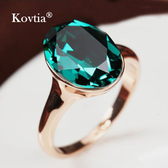 100 genuine austrian crystal wedding rings for women kovtia brand rose gold color jewelry green - Crystal Wedding Rings