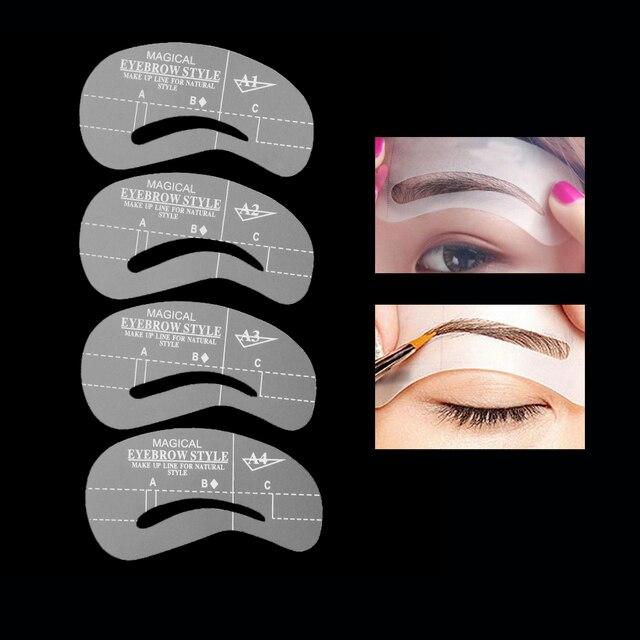 24 Styles/Set Eyebrow Grooming Stencil Shaper Kit Template Eye Brow Makeup Shaping Beauty DIY Eyebrow Grooming Stencil Tools