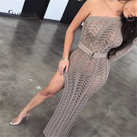 Fuedage Autumn Winter Knitting Long Dress Women 2018 Dresses Sexy Hollow Out High Split Club Party