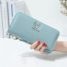Womens wallet V-shaped handbag long section zipper lychee pattern womens banknotes clip solid color printing 2 fold PU