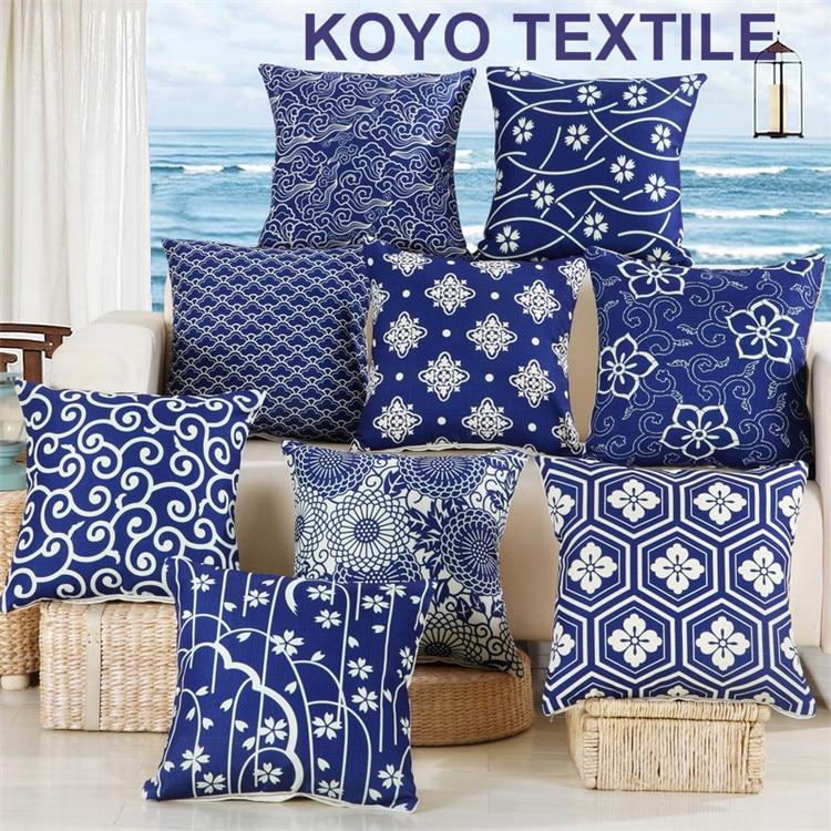 Vintage Chinese Ethnic Decoration Cushions Blue White Geometric Print Linen Cheap Sofa Car Cushion Cover Throw Pillow Case
